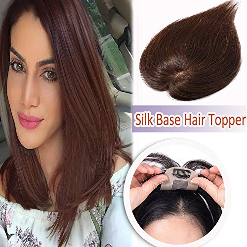 air Toppers for Women Clip in Hair Top Hairpiece Silk Base Natural Toupee for Tinning Hair #4 Medium Brown ()