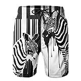 AA WIU Couple Zebra Men Printed Drawstring Swim Trunk Surf Board Shorts Swimwear