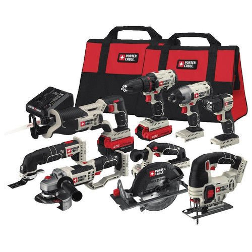 PORTER-CABLE PCCK619L8 20V MAX Lithium Ion 8-Tool Combo Kit (Grinder Combo Tool Kit)