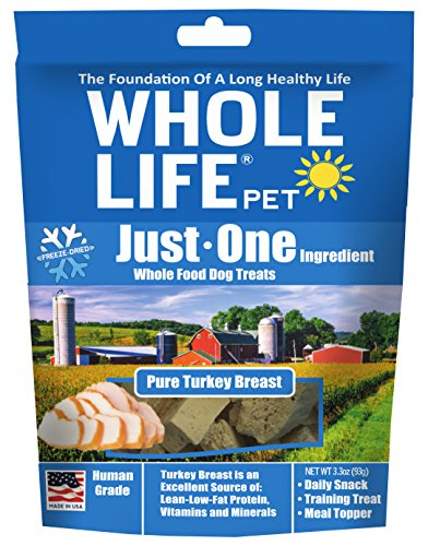 Whole Life Pet Just One-Single Ingredient Freeze Dried Treats for Dogs Pure Turkey Breast, (Pet Turkey)