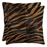 Safavieh Pillow Collection Throw Pillows, 22 by 22-Inch, Raquel Black and Brown, Set of 2
