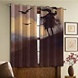 Custom design curtains/Vintage Lace Window Curtain/Grommet Top Blackout Curtains/Thermal Insulated Curtain For Bedroom And Kitchen-Set of 2 Panels(ul From a Scary Movie Film on the Hills with Cloud)