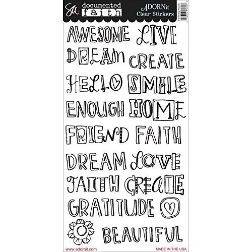 Adorn-It Documented Faith Clear Stickers 6-inch x 12-inch Faith Big Words, Acrylic, Multicolour by Adornit by Adorn-It