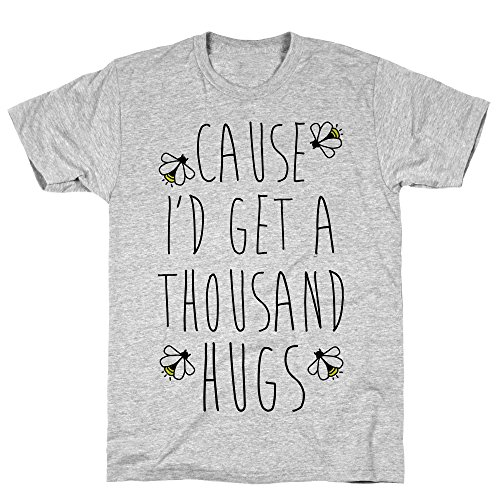LookHUMAN Cause I'd Get a Thousand Hugs 2X Athletic Gray Men's Cotton Tee -
