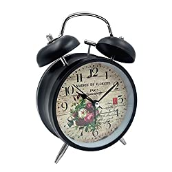 Loud Alarm Clock Hippih 4 Non-ticking Quartz Analog Vintage Desk Clock with Backlight and Battery Operated for Heavy Sleepers, Kids Bedroom(Paris Black)
