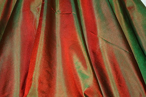 (Green & Red Tissue Taffeta Silk, 100% Silk Fabric, By The Yard, 44
