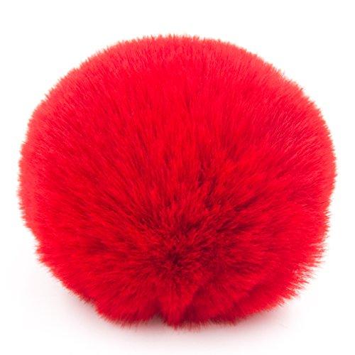 Very Soft 8CM 12pcs Faux Rex Rabbit Fur Pompom Ball for Hats Shoes Charms (Red) (Rex Rabbit Hat)