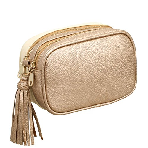 Copper Clutch (BMC Womens Copper + Cream PU Faux Leather Dual Texture Double Compartment Fashion Clutch Handbag)