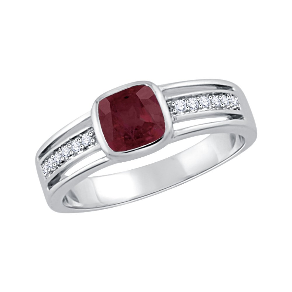 Diamond and Cushion Cut Ruby Anniversary Ring in Sterling Silver (1 1/3 cttw) (GH-Color, I2/I3-Clarity) (Size-4.25)
