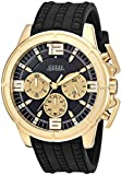 GUESS Men's Stainless Steel Textured Silicone Watch, Color: Black/Gold-Tone (Model: U1115G1)