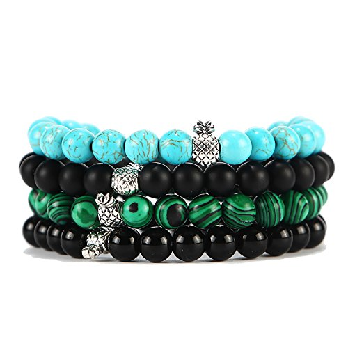 XIAOLI Natural Tiger Eye Gem Beads Tibetan Buddhist Prayer Mala Bracelet 10mm (4Pcs Bracelets) (Tibetan Prayer Buddhist Beads)