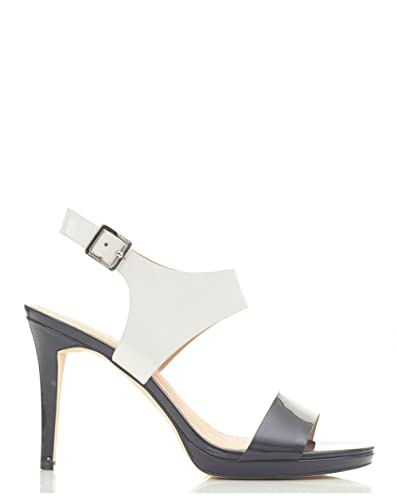 3844ecf87413 Michael Kors Claudia Mid Heel Sandals Black and White 5  Amazon.co ...