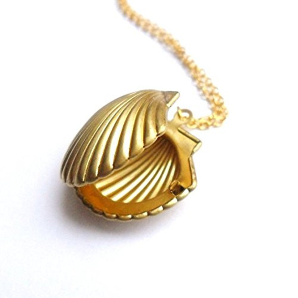 Amazon sea shell locket mermaid valentine necklace beach amazon sea shell locket mermaid valentine necklace beach locket gold tone brass nautical jewelry for women girls party favor office products aloadofball Gallery