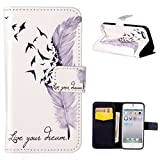 For iphone 5 5S SE, Leathlux PU Leather Wallet Style Case Protective Cover with Credit Card Slots Holder Magnetic Flip Closure Stand Slim for Apple iphone 5 5S SE