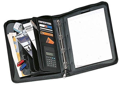 Cartella porta-documenti, con 12 scomparti (anche per carte di credito), raccoglitore a 4 anelli, blocco, calcolatrice e manici a scomparsa, in finta pelle