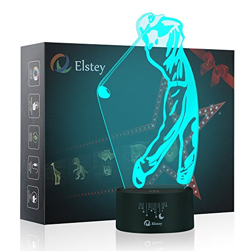 Golf Lamp - Golf 3D Night Light Touch Table Desk Optical Illusion Lamps, Elstey 7 Color Changing Lights with Acrylic Flat & ABS Base & USB Cable Decoration LED Lamps for Holiday Gift