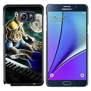 Gatos Arte Plan de pintura Luna- Metal de aluminio y de plástico duro Caja del teléfono - Negro - Samsung Galaxy Note5 / N920