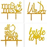 Zehui We Do Letter Pattern Wedding Cake Topper Creative Golden Acrylic Shining Bride Groom Engagement Anniversary Cake Decoration