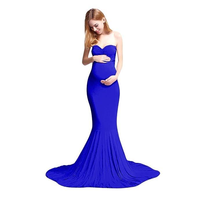 ALIKEEY Las Mujeres De Maternidad Embarazo Sólido Vestido Sin Mangas Vestido De Ropa De Los Hombros