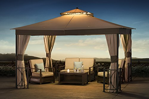 Sunjoy 10' X12' Scott Bell Softtop Gazebo with Netting & Curtain by sunjoy
