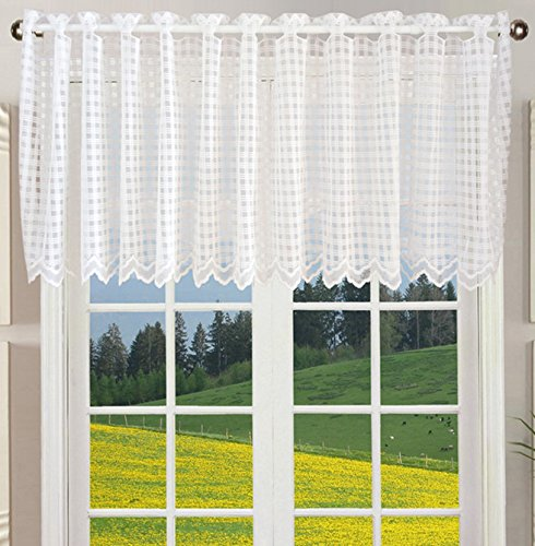 (ZHH Lace Window Valance Sheer White Square Lattice Cafe Curtain 17-Inch by 60-Inch)