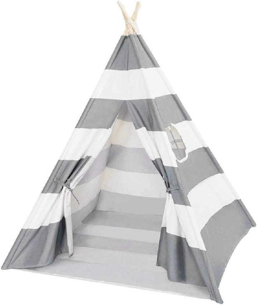 Quieting Kids Teepee Play Tent Children Large Cotton Canvas Indian Wigwam Playhouse Indoor Grey Stripes  sc 1 st  Amazon UK & Amazon.co.uk: Play Tents: Toys u0026 Games