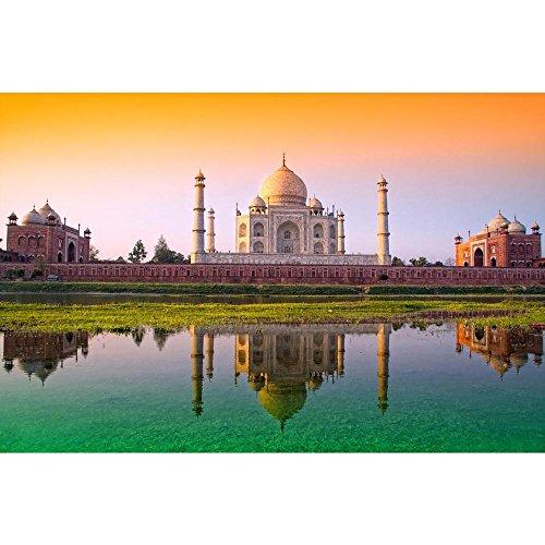 Pitaara Box Taj Mahal with Tricolor Peel & Stick Vinyl Wall Sticker 29.3 X 19.4Inch