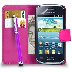 123 Online Samsung Galaxy S6310 Joven Hot Pink Cartera de cuero del caso del tirón de la cubierta Pouch + Grandes Touch Stylus Pen + 2 x Protector de pantalla y paño de pulido