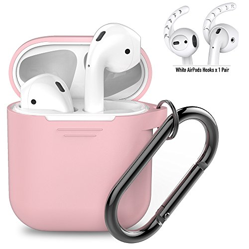 AhaStyle AirPods Accessories Set Silicone Protective Case Cover with Ear Hooks and Carabiner for Apple AirPods Charging Case(Pink Case, White Hooks)