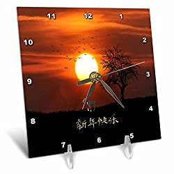 3dRose Beverly Turner Chinese New Year Design - Sunset, Tree, Birds, Fighting Dog, Dog and Happy New Year in Chinese - 6x6 Desk Clock (dc_274493_1)