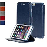 NAVOR® Ultra Slim Protective Flip Wallet Case for iPhone 6 Plus / 6S Plus [5.5 Inch] - Navy Blue (IP6PTNB)