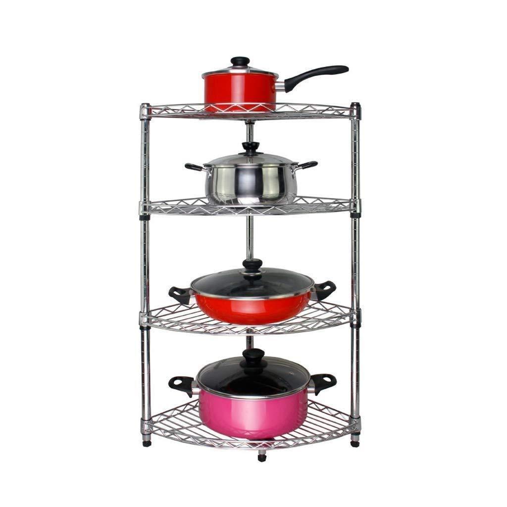 キッチン収納ラック - 4段キッチントライアングルラックパンラック、カウンタートップ、扇形、4層多機能家庭用収納、大容量 WJuian B07RQGDF75