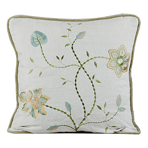 Parliament Collection Passion Embroidered Linen Pillow Natural CREATIVE THREADS INC 20 by 20-Inch Passion-Natural; 20