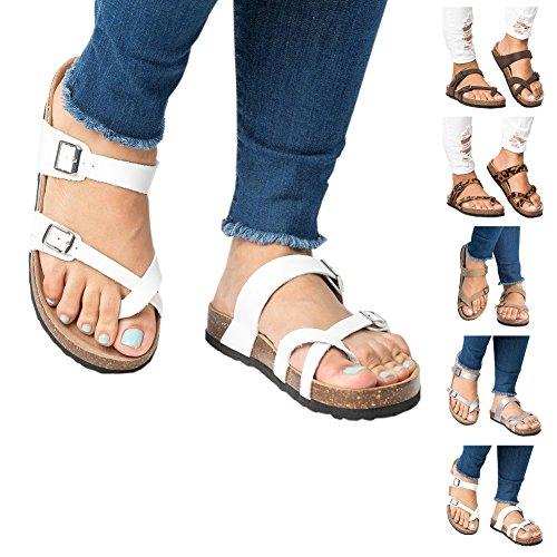 Womens Flat Sandals Platform Espadrille Slide Slip On Footbed Summer Beach Strap Buckle Flip Flop by Big Tree White xUfBjEn7v