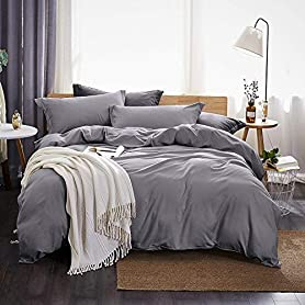Dreaming Wapiti Duvet Cover Twin,100% Washed Microfiber 3pcs Bedding Set,Solid Color - Soft and Breathable with Zipper Closure & Corner Ties (Gray,Twin) 5