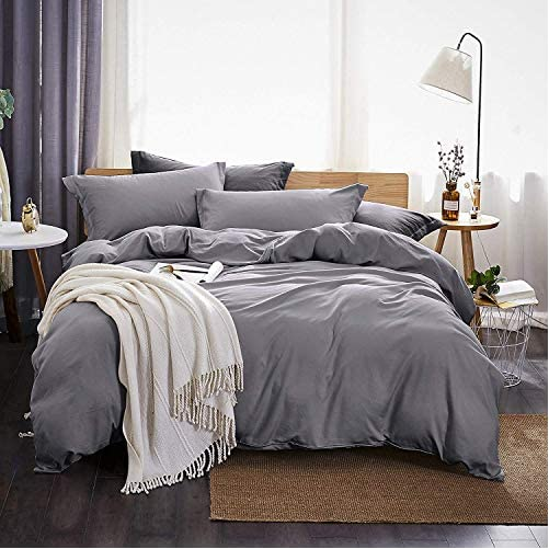 Dreaming Wapiti Duvet Cover Twin,100% Washed Microfiber 3pcs Bedding Set,Solid Color - Soft and Breathable with Zipper Closure & Corner Ties (Gray,Twin) 1
