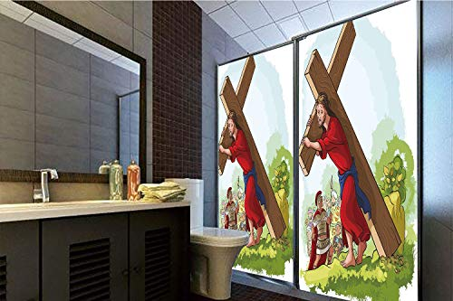 Privacy Window Film No Glue,Religious,Cartoon Style Carrying The Cross Scenery Historical Figure Roman Soldier,Green Red Brown,70.86
