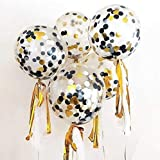 12 Pack 12 inch Confetti Balloon Kit with Metallic Confetti in Black & Gold For Party Decoration