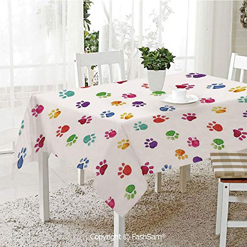 AmaUncle Premium Waterproof Table Cover Hand Painted Illustration