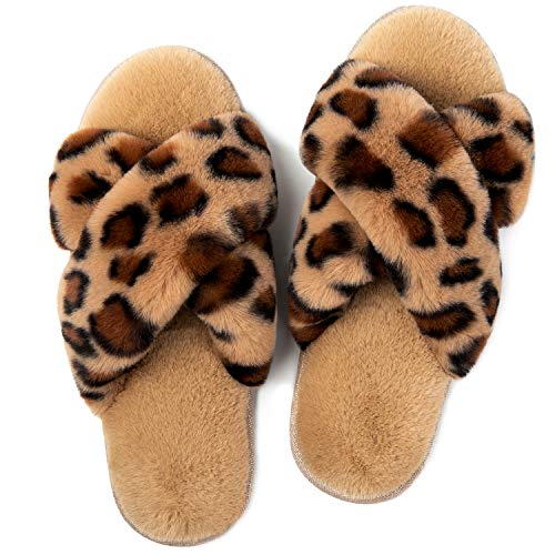 LongBay Women's Fuzzy Faux Fur Cross Band Slide Slippers in Leopard Print