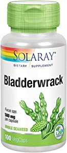 Solaray Bladderwrack Seaweed 580 mg | Healthy Thyroid Balance and Weight Management Support | Non-GMO & Vegan | 100 VegCaps