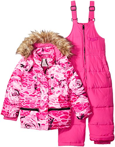 Diesel Toddler Girls' 2 Piece Snowsuit, Pink Rose Print, 2T
