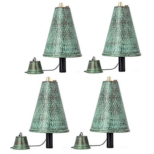 Legends Hawaiian Cone Tiki Style Torches with Poles, Set-of-4 (Hammered Patina)