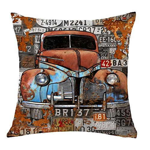 (Retro last century oil painting Wood world map classic car motorcycle Throw Pillow Cover Cushion Case Cotton Linen Material Decorative 18