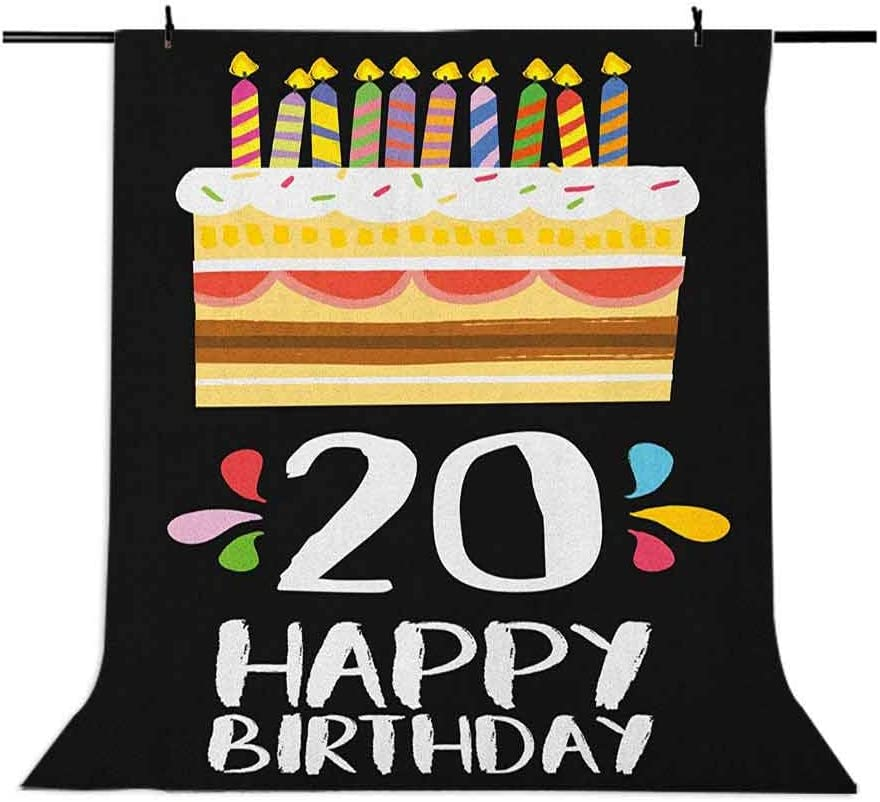 9x16 FT 20th Birthday Vinyl Photography Backdrop,Vintage Cartoon Style Delicious Looking Party Cake with Candles on Black Background for Baby Birthday Party Wedding Graduation Home Decoration