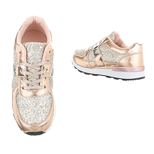 G Design Or Basses 102 Casual Chaussures Italien Rose Baskets Lacets Femmes 6xRwzq7g4