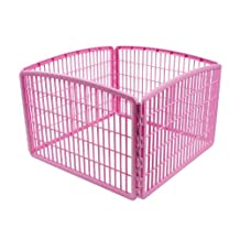 IRIS 60 Centimeter Tall 4-Panel Pet Playpen,  Pink