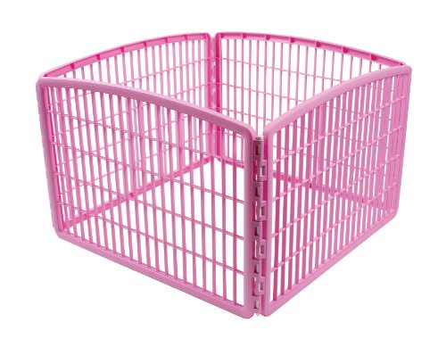 IRIS 24'' Exercise 4-Panel Pet Playpen without Door, Pink
