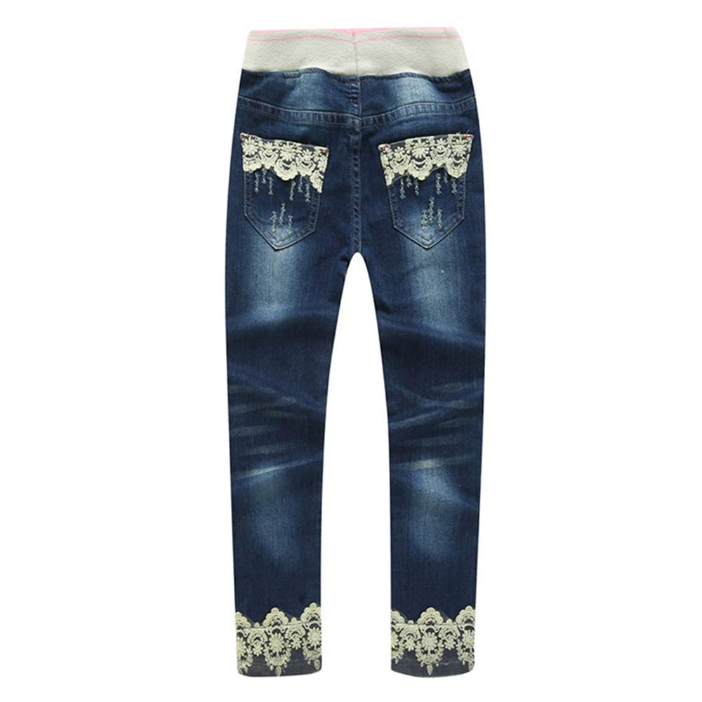 FLOWERKIDS Girls Jeans Adorable Lace Bottom Washed Slim Fitted Denim Pants 4-13 Years