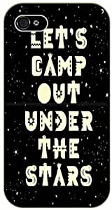 Art - Let's camp out under the stars - Starry night - Adventurer For Apple Iphone 4/4S Case Cover Black plastic case